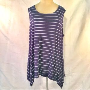 Ellen Tracy stripe/ lace knit asymmetric tunic. XL